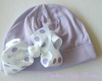 NEW----Boutique Hospital Pictures Knit Beanie Cap with Hairbow Clip Set----Lavender and White Dot----Fits 0-6 Months
