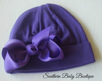 NEW----Boutique Hospital Pictures Knit Beanie Cap with Hairbow Clip Set----Purple----Fits 0-6 Months