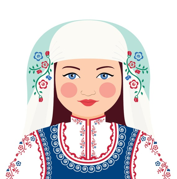 Bulgarian Wall Art Print features cultural traditional dress drawn in a Russian matryoshka nesting doll shape