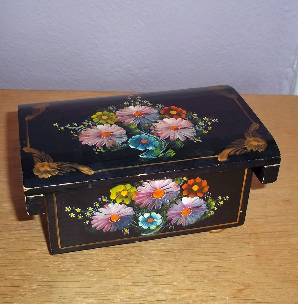 Vintage Hand Painted Lacquer Jewelry Box From Ecuador Wooden