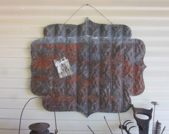 Repurposed Rustic Tin Magnetized Post It Board