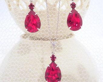 Red Bridal jewelry, Wedding jewelry, Swarovski crystal necklace, Red Crystal necklace set, Bridal necklace, Wedding necklace, Red earrings