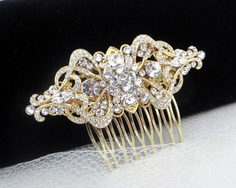 Gold rhinestone hair comb, Bridal hair comb, Gold wedding headpiece, Art deco hair comb, Wedding hair accessory, Swarovski crystal comb