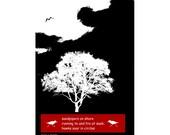 Sandpiper Haiku Verse Poetry Art Black White Red Text Poem Giclee Print Home Decor Flying Bird Silhouettes White Tree Vector Graphics