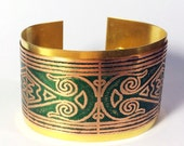 Art Deco Cuff, Green Cuff Bracelet, Mixed Metal Cuff