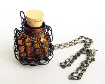 Glass Vial Necklace Wire Wrapped Bottle Necklace
