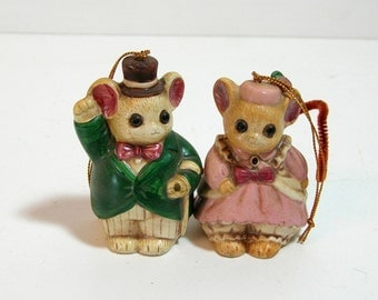 Vintage Ceramic Mr and Mrs Mouse Ornaments