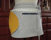 Vendor Apron Blue and White Striped Vintage Ticking Yellow Gold Lining