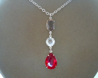 NEW MARKDOWN: Light Smoke, Diamond Clear, and Ruby Red Crystal Focal Necklace -- Customizable