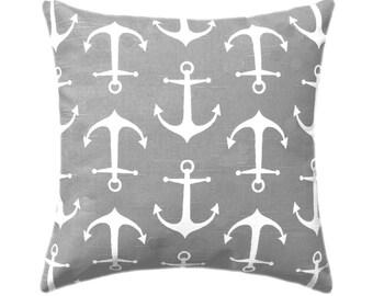 Grey and White Nautical Pillow - Premier Prints Sailor Ash Gray and White Outdoor Throw Pillow Free Shipping