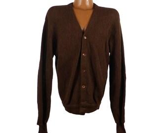 Cardigan Sweater Vintage 1960s Brown Jantzen Wool  Men's