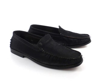 Tods Driving Loafers Vintage 1990s Black Nylon over Leather Moccasins Shoes Women's 6 1/2