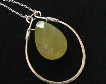 Silver Wrapped Faceted Jade Pendant Necklace