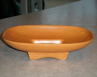 burnt pumpkin orange sienna speckles McCoy Pottery mid century footed console bowl centerpiece planter