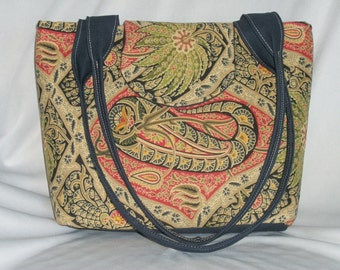 Purse Tote Shoulder Bag Medium-Sized Flap Polynesian Paisley Multi Colored Print Double Straps Pockets