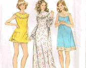 Night Gown and Bloomers Pajamas Vintage 1960s Simplicity 5030 Sewing Pattern Misses Size Small 8 10 Bust 31.5 32.5  inch