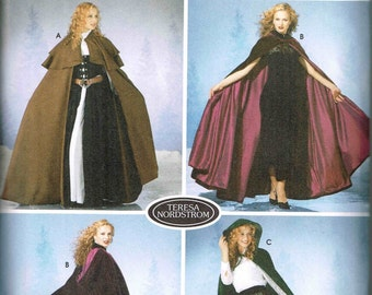 Medieval Renaissance Hooded Cape Simplicity 5794 sewing Pattern xs, s, m. l, small medium, large Size 6 8 10 12 14 16 18 20