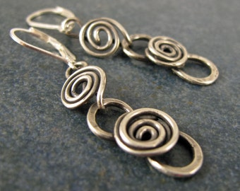 Swirl Earrings, Sterling SIlver, Hand Crafted, Great Gift