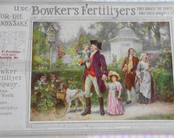 Antique 1911 Calendar Bowkers Fertilizer Company George Washington and Family at Mount Vernon