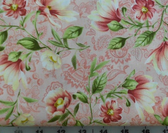 Fabric - Peony Tails by South Sea Imports - Floral with Pink Background - Yardage