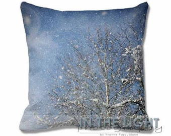 Snow Falling - Fine Art Photography Pillow for home decor