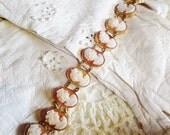 Vintage Cameo Bracelet Carved Shell 14K Gold Fine Jewelry