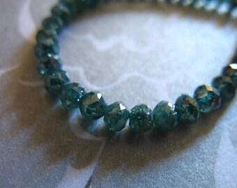 Shop Sale.. 10 pcs, 2-2.5 mm, BLUE DIAMOND Rondelles, Luxe AAA, april birthstone brides bridal wholesale diamonds drbg 25