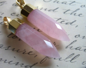 Shop Sale,, 1 5 10 pc, ROSE QUARTZ POINT Pendant Spike, 35-40mm Gemstone Pencil Point Charm w/ Gold Cap Bail, wholesale points ap70.7 solo