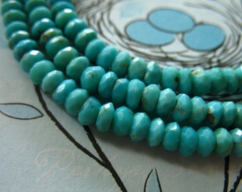 Shop Sale.. 1/2 Strand, SLEEPING BEAUTY Rondelle Beads, Luxe AAA, 4-5 mm, Robins Egg Blue, december birthstone, genuine turquoise solo