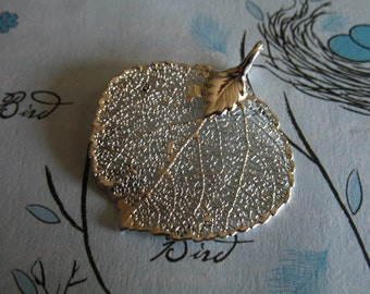 Shop Sale ..  REAL Leaf Pendant Charm, Genuine Sterling Silver Plated ASPEN, 1-1.5 inch, SMALL, woodland weddings nature bridal jewelry solo