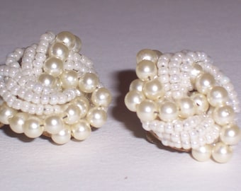 Vintage Earrings with White Faux Pearls - Clip Ons