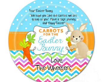 Carrots for the Easter Bunny DINNER PLATE - Easter Holiday Bunny Rabbit Personalized Dinnerware Plate with Name