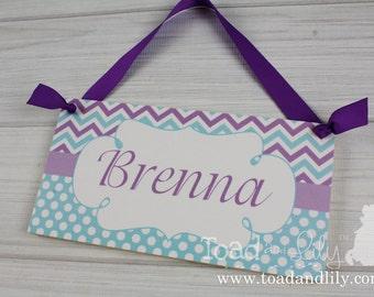 Personalized DOOR SIGN Aqua Lilac Chevron Sign Girls Bedroom Plaque Baby Nursery Kids Bedroom Door Sign Wall Art Personalized Name DS0319