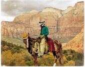 Raccoon Print Art Animal Photography Cowboy Western Desert Horse Art Wild West Canadian Sellers Print - Old Rocky Bill