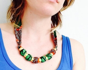 African wax print necklace. Fabric necklace, African necklace,