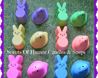 EASTER PEEPS MARSHMALLOW Candy Soap - Kids Easter Basket Party Favor Gift Ready Packaged - Home Decor - Choose Color & Scent - Handmade
