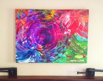 Abstract acrylic and oil painting in rainbow colors, original artwork, 36 x 48 inches on gallery canvas