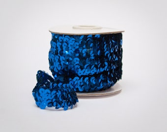Royal Blue Elastic Metallic Flat Sequin Trim, 10 yards Full Spool