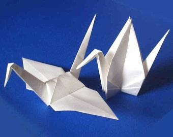 25 Large Origami Cranes Origami Paper Cranes Paper Crane - Made of 15cm 6 inches Japanese Paper - White