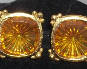 Vintage Amber Rivoli Glass Gold Tone Square Cuff Links Cufflinks