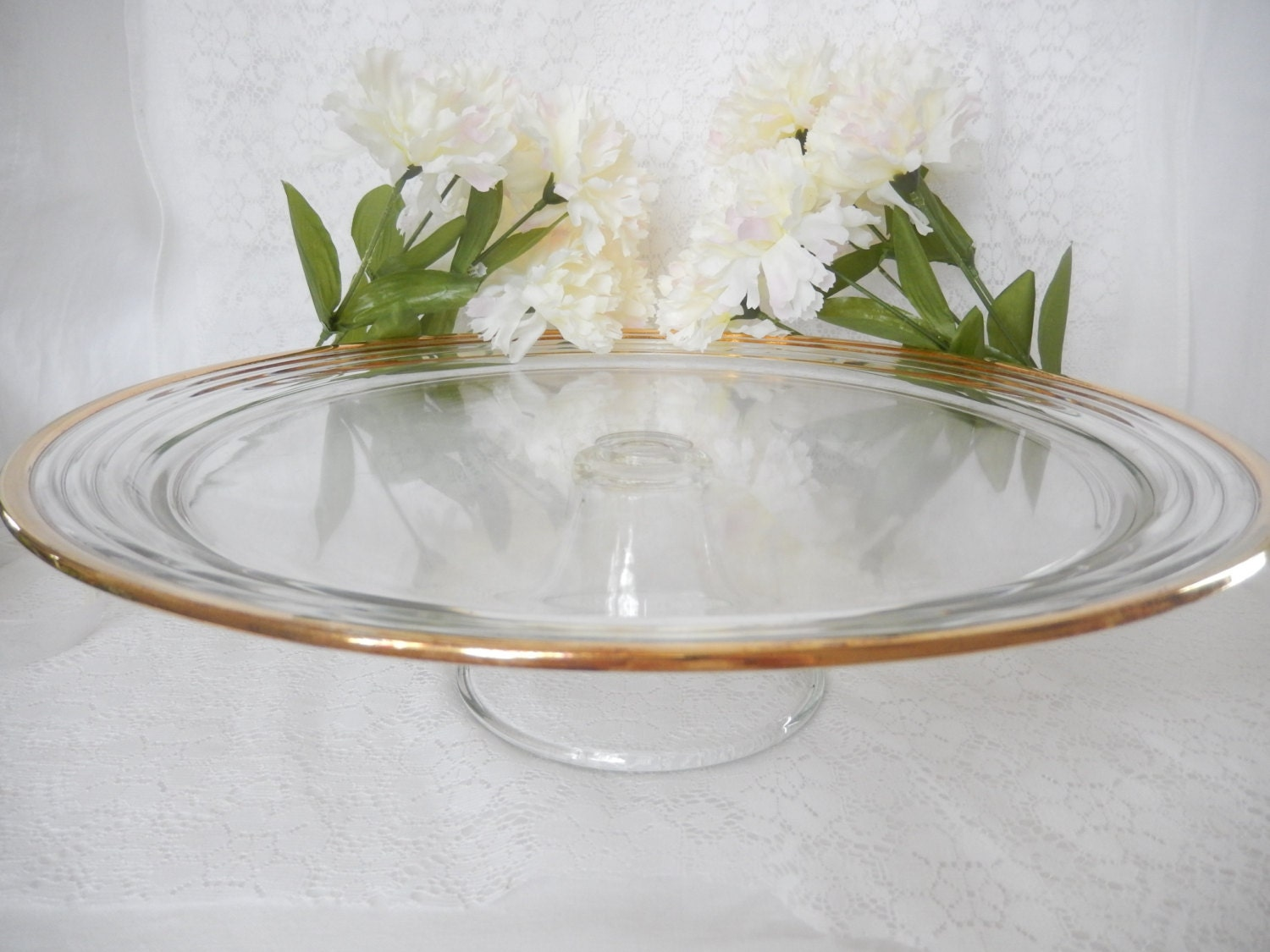 Vintage pedestal cake stand large cake stand clear glass for Colored glass cake stand