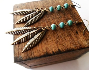 Brass Leaf and Turquoise Dangle Earrings | Boho Hippie Style Earrings for Women | Rustic Urban | Blue and Bronze Earrings | Metal and Stone