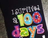 Boutique Custom Personalized Girls Boys I Survived 100 Day of School Shirt