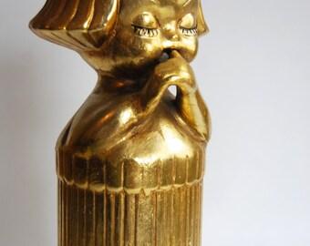 Vintage Golden Bottle Cover, Girl, Mid Century Home Decor