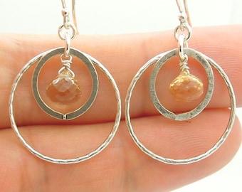 Moonstone earrings in chandelier sterling silver
