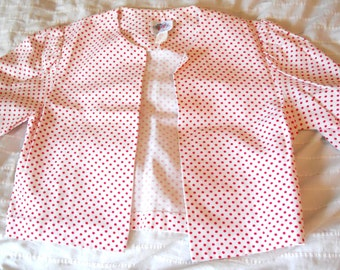 LANZ ORIGINALS CROPPED jacket, collarless, no closures, short, tulip cut, ruched sleeves, red and white polka dot, size 12, darling jacket
