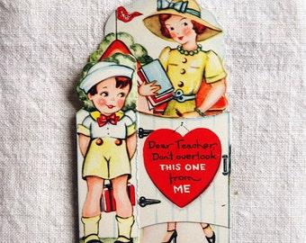 vintage Valentine's Day card, boy with teacher, very sweet
