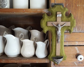 antique French crucifix with holy water font, wood / pewter crucifix on green velvet background