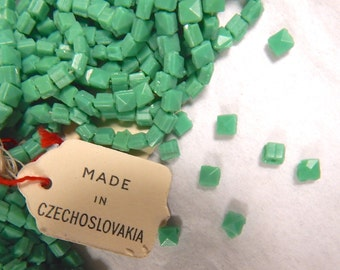 Vintage Square Nailhead Beads - 4mm Green Glass Full Hank of 260 Beads