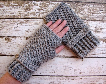 Grey Women's Fingerless Winter Gloves, Gray Ladies Wrist Warmers